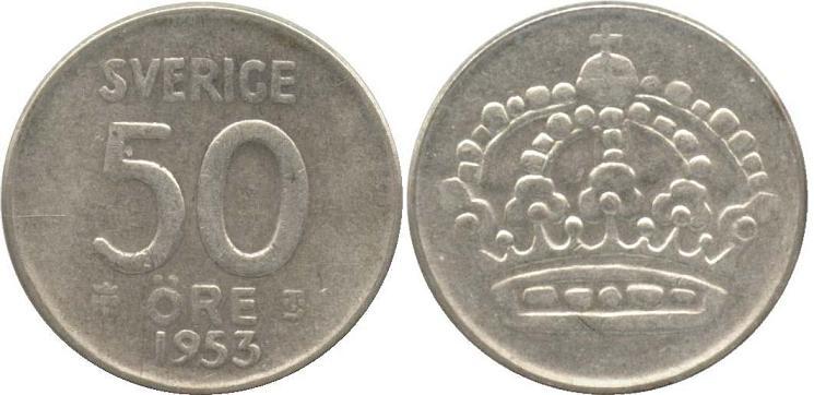 Svenska Silvermynt 50 öre 1943-1961