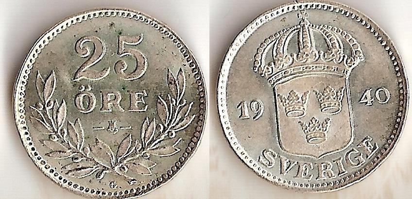 Svenska Silvermynt 25 öre 1874-1941