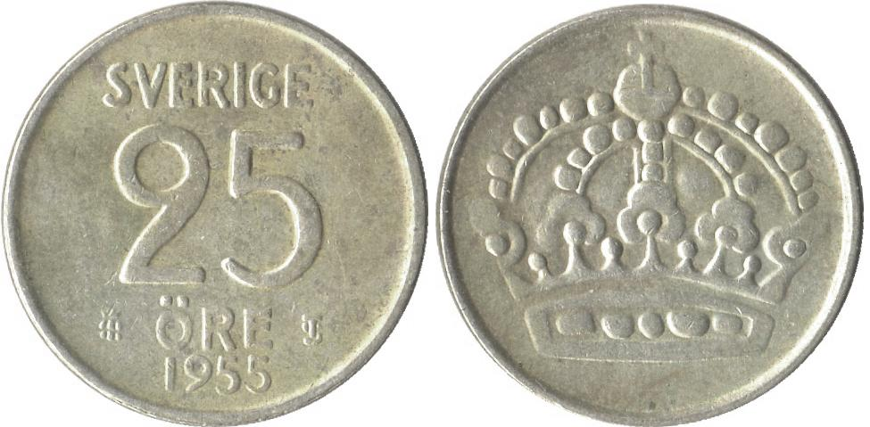 Svenska Silvermynt 25 öre 1943-1961