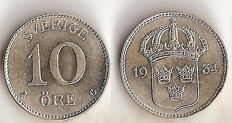 Svenska Silvermynt 10 öre 1874-1962