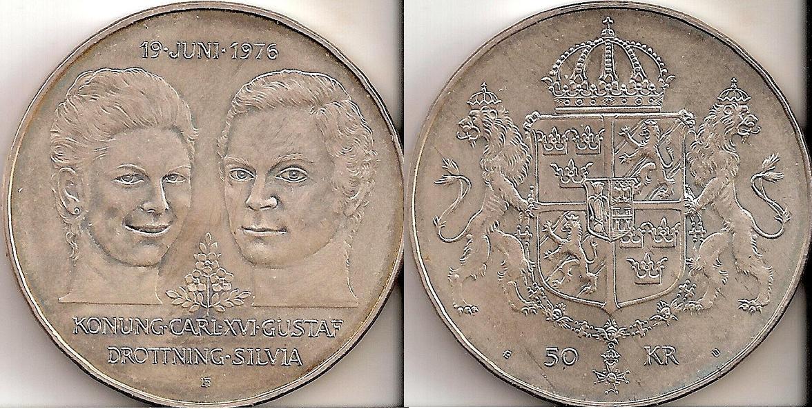 Svenska Silvermynt 50 kr 1975, 1976