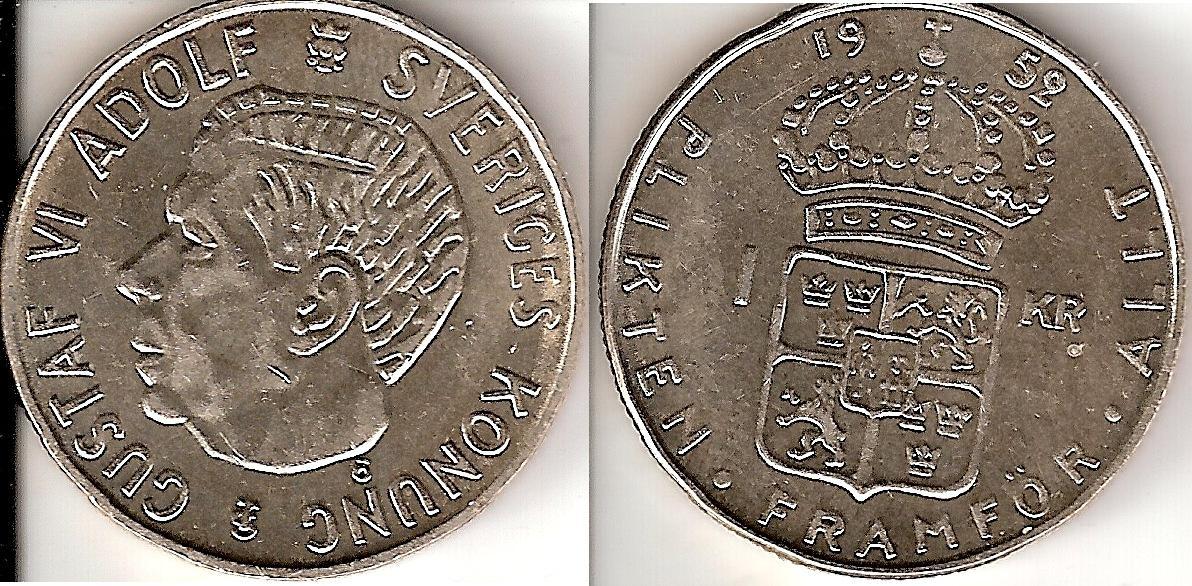 Svenska Silvermynt 1 kr 1942-1968