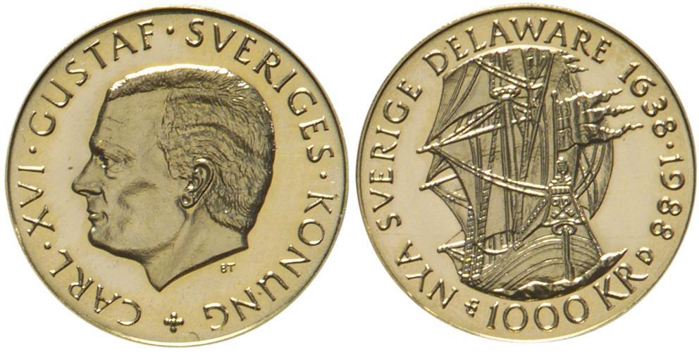 Svenska Guldmynt 1000 kr 1988-1998