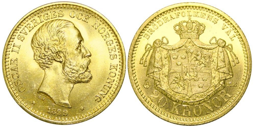 Svenska Guldmynt 20 kr  1873-1925