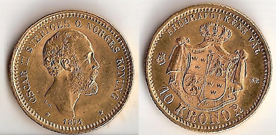 Svenska Guldmynt 10 kr  1873-1901
