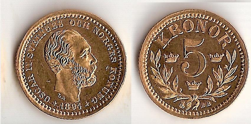 Svenska Guldmynt 5 kr  1881-1920