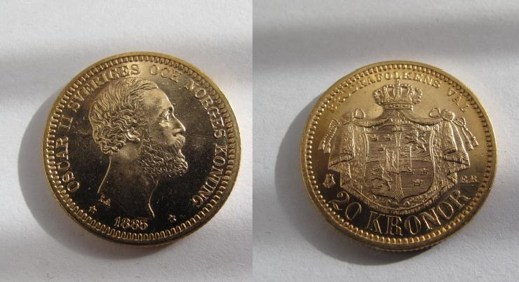 Svenska Guldmynt 20 kronor 1885 1885
