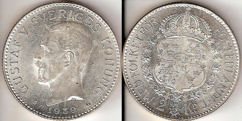 Svenska Silvermynt 2 kr 1876-1940