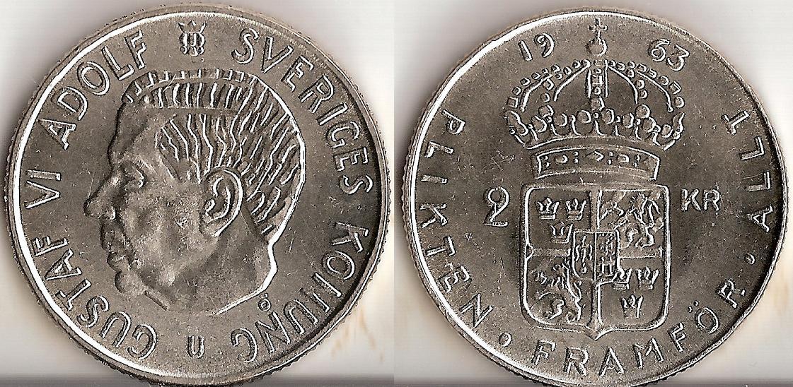 Svenska Silvermynt 2 kr 1942-1966