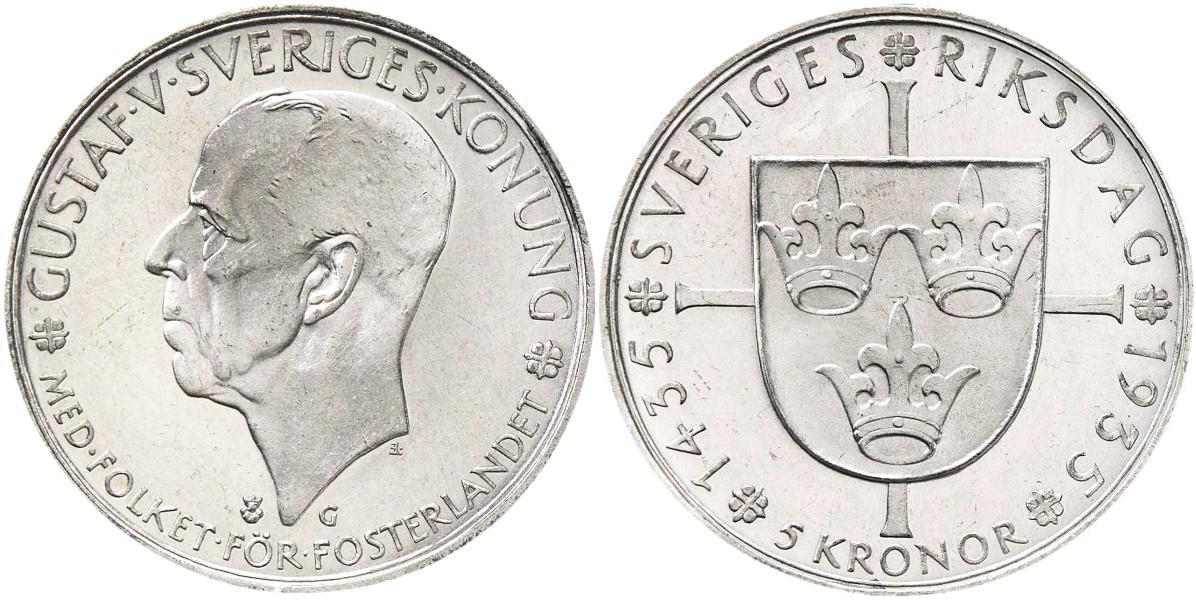 Svenska Silvermynt 5 kr 1935