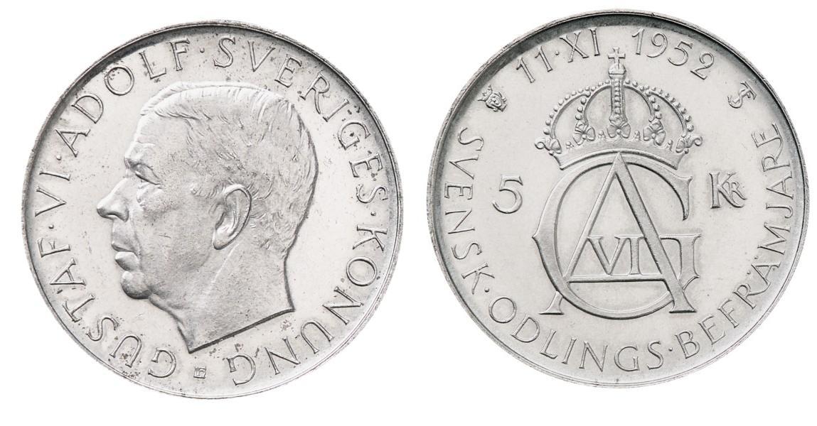 Svenska Silvermynt 5 kr 1952