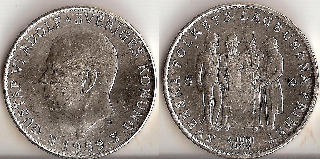 Svenska Silvermynt 5 kr 1954-1971