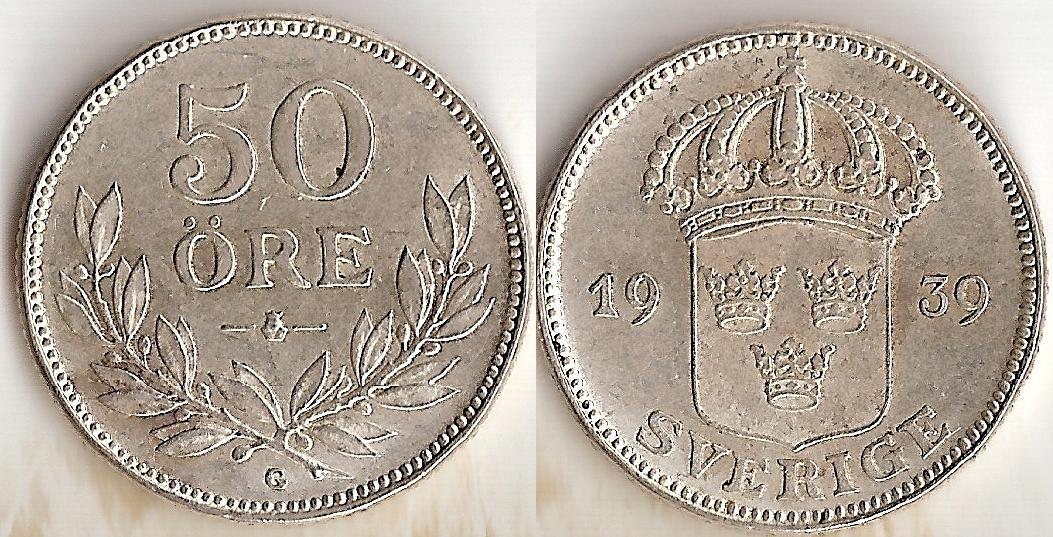 Svenska Silvermynt 50 öre 1875-1939