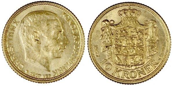 UTLÄNDSKA Guldmynt Denmark 10 kr  1873-1917