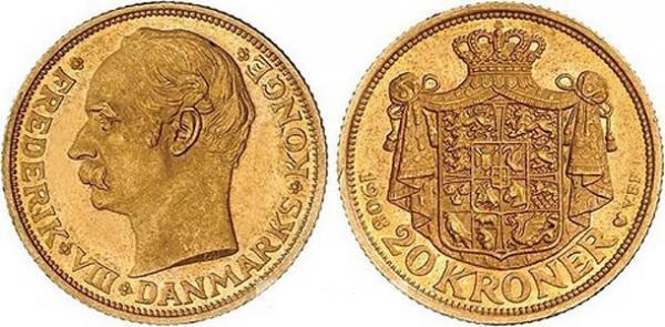 UTLÄNDSKA Guldmynt Denmark 20 kr  1873-1917