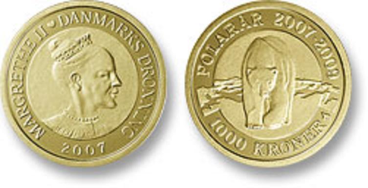 UTLÄNDSKA Guldmynt Denmark 1000 kr  2007-2009