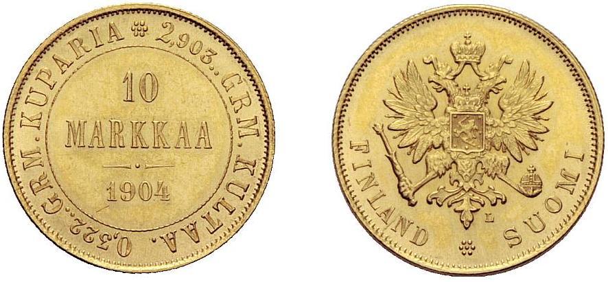 UTLÄNDSKA Guldmynt Finland 10 Markkaa 1879 - 1913