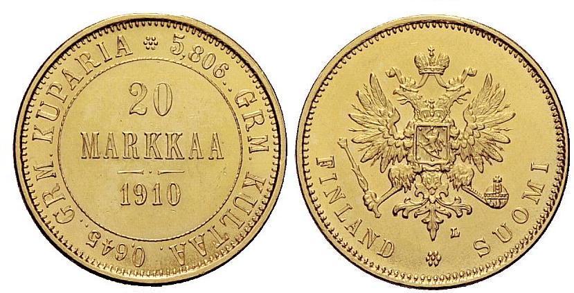 UTLÄNDSKA Guldmynt Finland 20 Markkaa  1878-1913