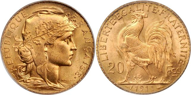 UTLÄNDSKA Guldmynt French Gold 20 Franc 1802-1914