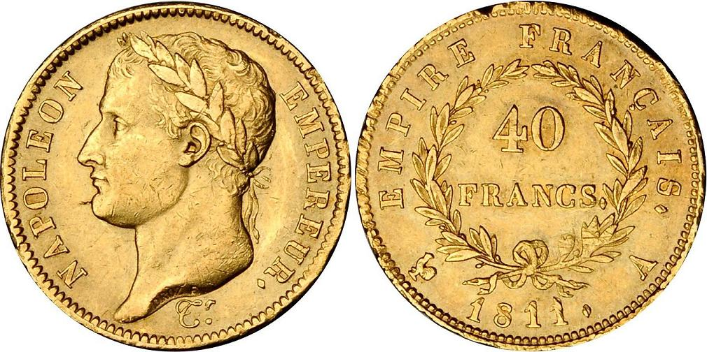 UTLÄNDSKA Guldmynt French Gold 40 Franc 1804-1838