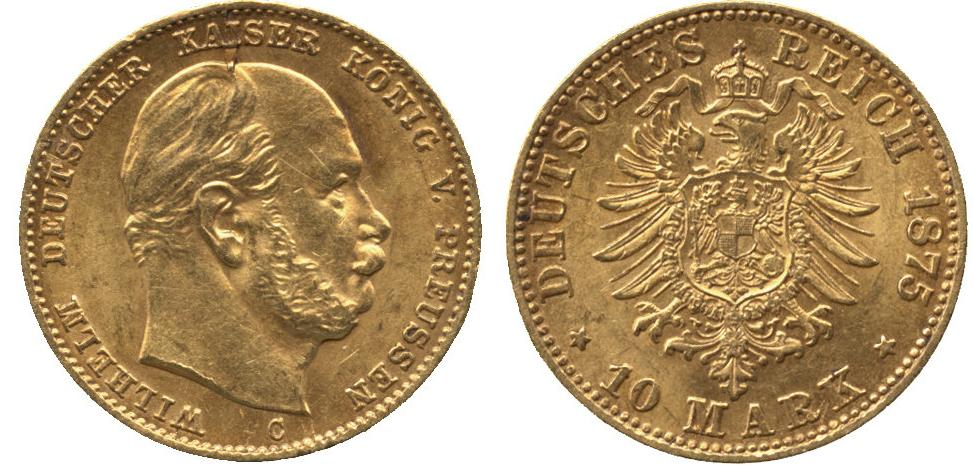 UTLÄNDSKA Guldmynt Germany 10 mark