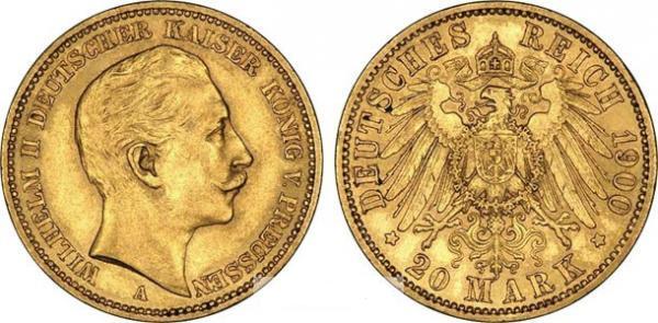 UTLÄNDSKA Guldmynt Germany 20 mark  1871-1915