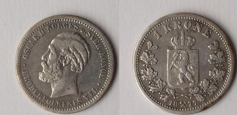 UTLÄNDSKA Silvermynt Norge 1 krona 1877-1917
