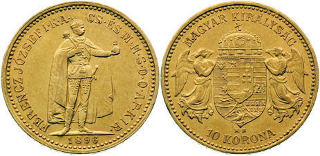 UTLÄNDSKA Guldmynt Hungarian 10 korona 1892-1918