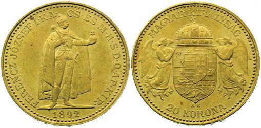 UTLÄNDSKA Guldmynt Hungarian 20 korona 1892-1918