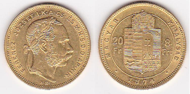 UTLÄNDSKA Guldmynt Hungarian 8 Forint 20 Francs 1879-1891