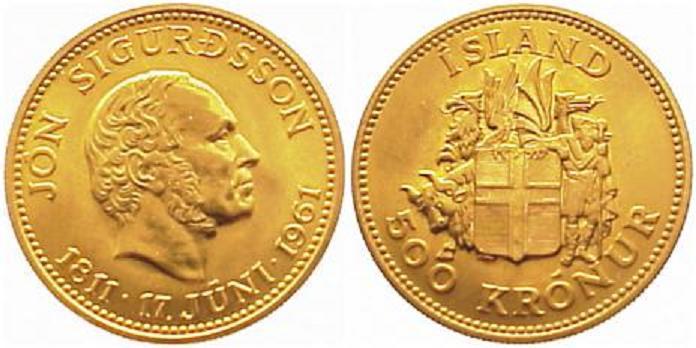UTLÄNDSKA Guldmynt Iceland 500  kronur  1961