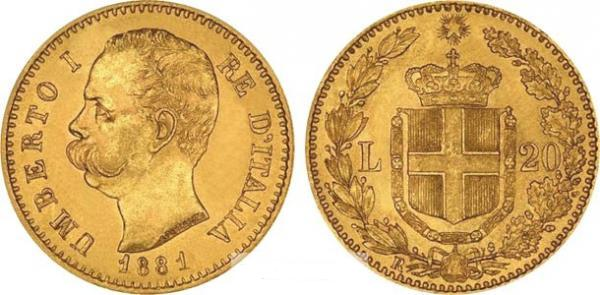 UTLÄNDSKA Guldmynt Italian 20 Lire  1861-1923