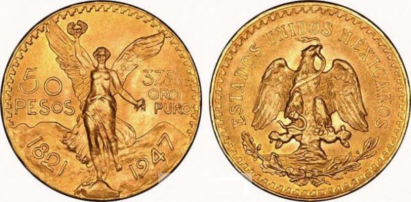 UTLÄNDSKA Guldmynt Mexico 50  Pesos 1921-1947