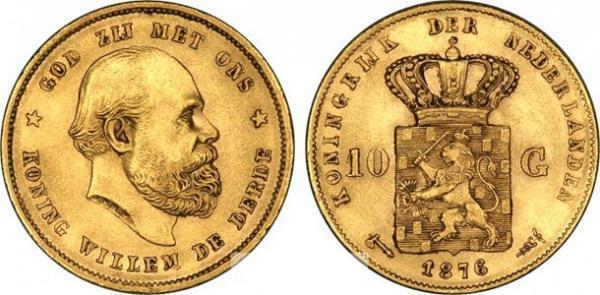 UTLÄNDSKA Guldmynt Netherlands 10 Gulden