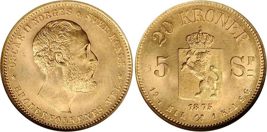 UTLÄNDSKA Guldmynt Norway 20 kr  Norge 1874-1910