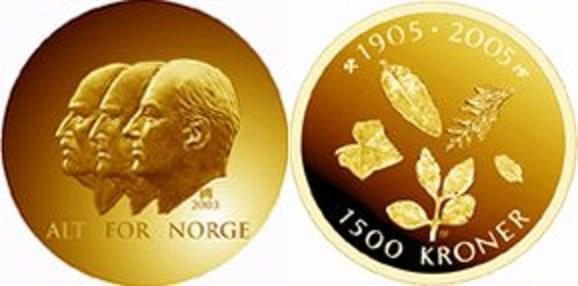 UTLÄNDSKA Guldmynt Norway 1500 kr  1991-2005