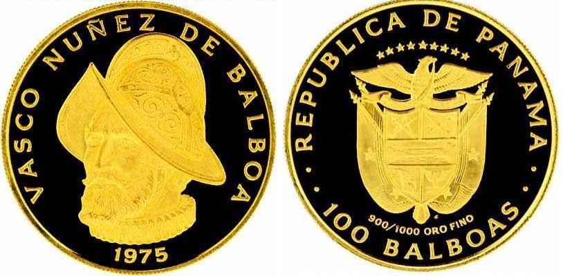 UTLÄNDSKA Guldmynt Panama 100 Balboas 1975