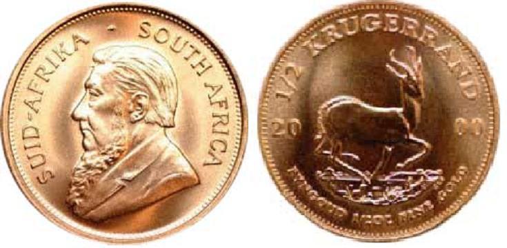 UTLÄNDSKA Guldmynt South Afrika Krugerrand 1/2 oz 1967-2000