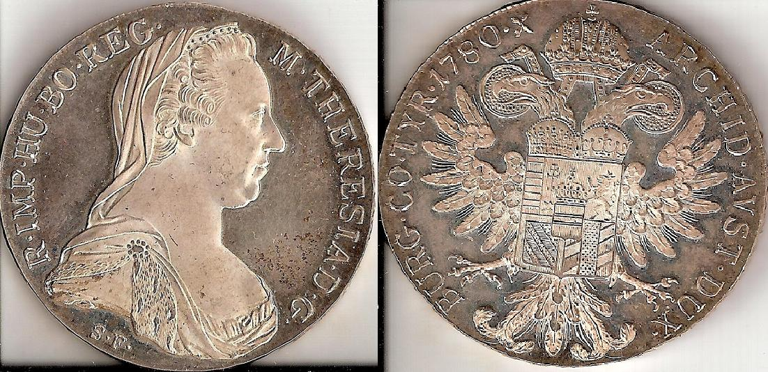 UTLÄNDSKA Silvermynt Austrian Thaler  Restrike  1780