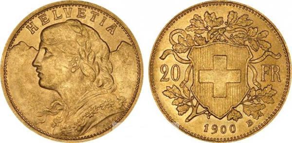 UTLÄNDSKA Guldmynt Swiss 20 Francs Vrenelli 1883-1949