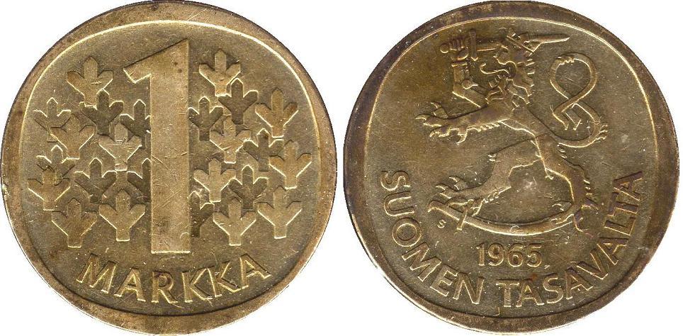 UTLÄNDSKA Silvermynt Finland 1 Markka 1964-1968