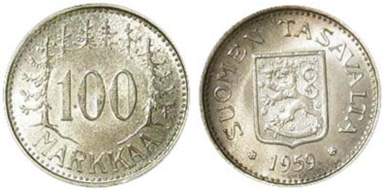 UTLÄNDSKA Silvermynt Finland 100 markkaa 1956-1960