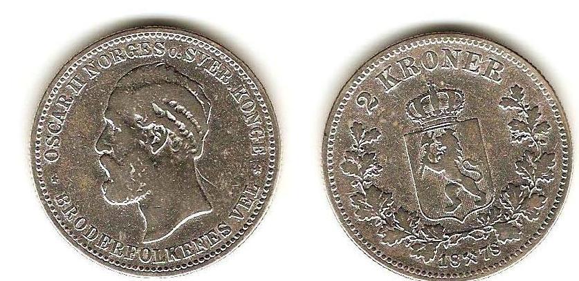 UTLÄNDSKA Silvermynt Norge 2 kronor  1878-1904