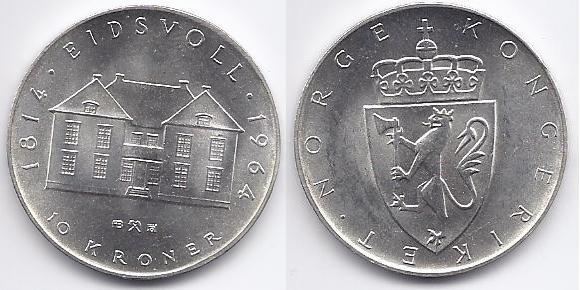 UTLÄNDSKA Silvermynt Norge 10 kronor  1964