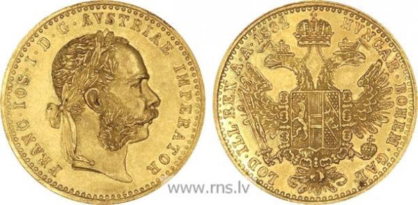 UTLÄNDSKA Guldmynt Austrian 4 Florins/10 Francs 1870-1892