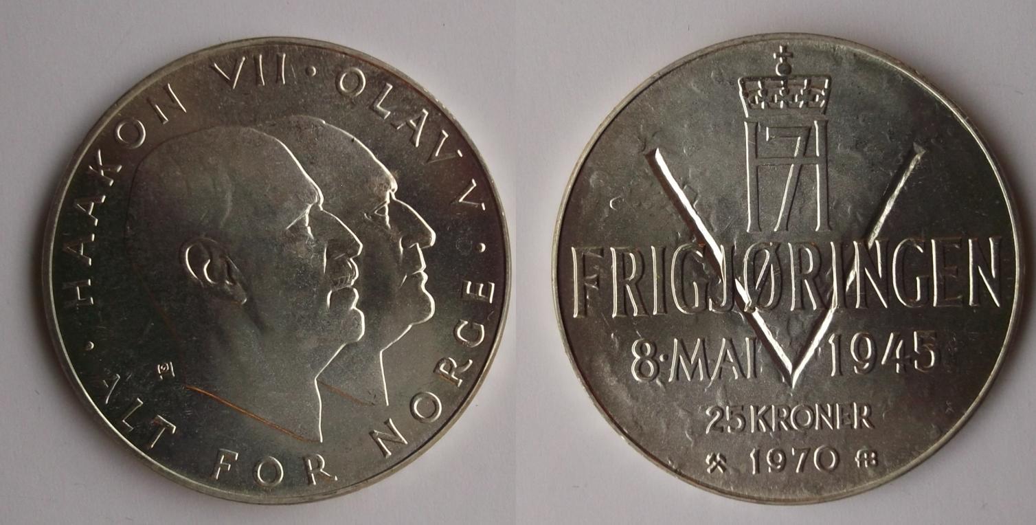 UTLÄNDSKA Silvermynt Norge 25 kronor  1970