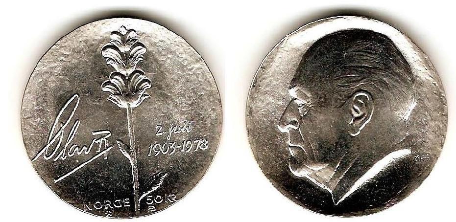 UTLÄNDSKA Silvermynt Norge 50 kronor  1978