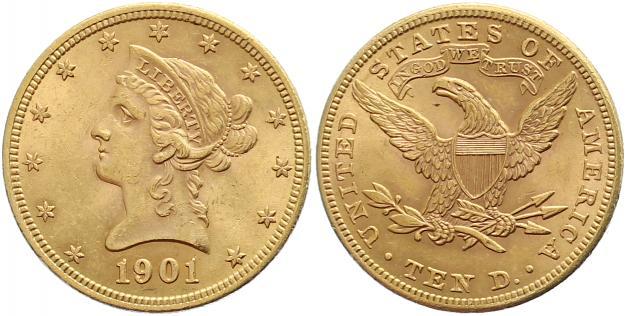 UTLÄNDSKA Guldmynt Usa 10 dollars gold  1838 - 1933