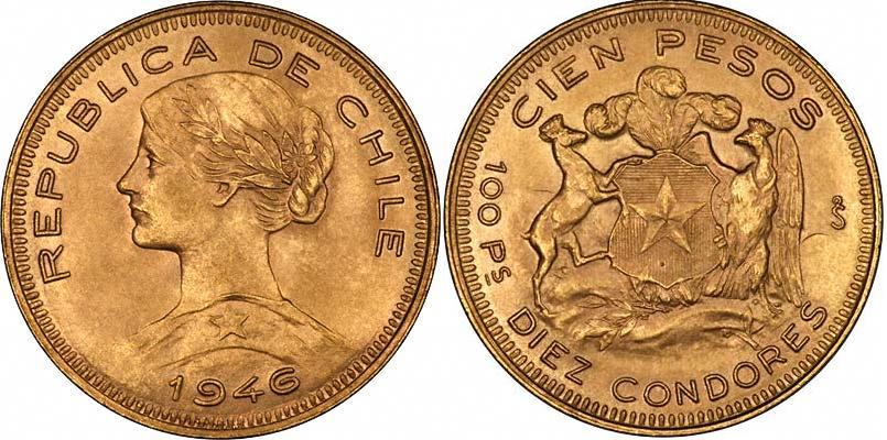 UTLÄNDSKA Guldmynt Chile  100 Pesos
