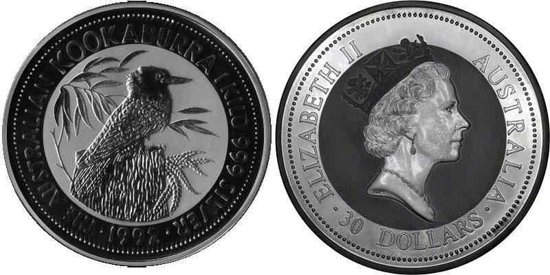 UTLÄNDSKA Silvermynt Kokaburra 1990-2012